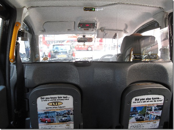 Black cab interior