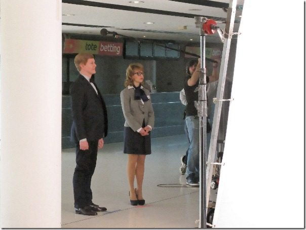 Brad McGehee and Nell Mooney filming on the set of DBA in Space.